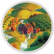 The Cider Mill Round Beach Towel by Robin Moline