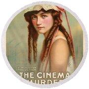 The Cinema Murder  Round Beach Towel