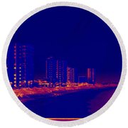 The City At The Beach Round Beach Towel