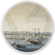 The City Of Paramaribo Round Beach Towel