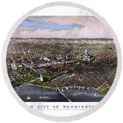 The City Of Washington Birds Eye View Round Beach Towel