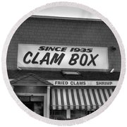 The Clam Box Round Beach Towel by Joann Vitali