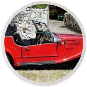 The Classic Red Convertible  Round Beach Towel