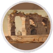 The Claudian Aquaduct Rome Round Beach Towel