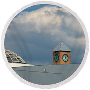 The Clock And The Dome Round Beach Towel