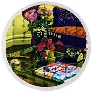 The Coffee Table Round Beach Towel