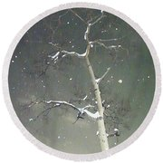 The Cold Bones Of Trees At Night Round Beach Towel