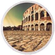 The Coliseum In Rome Round Beach Towel