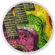 The Color Of Music In The Way Of Arcimboldo Round Beach Towel