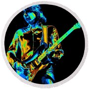 The Colorful Sound Of Mick Playing Guitar Round Beach Towel