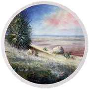The Colors Of Evening Round Beach Towel