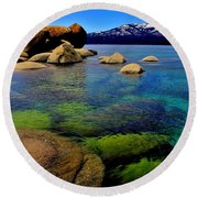 The Colors Of Lake Tahoe Round Beach Towel