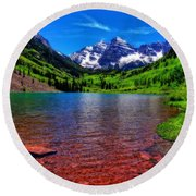 The Colors Of Maroon Bells In Summer Round Beach Towel
