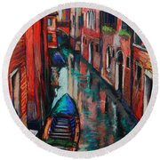 The Colors Of Venice Round Beach Towel