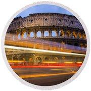 The Colosseum-blue Hour Round Beach Towel