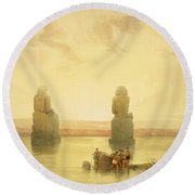 The Colossi Of Memnon Round Beach Towel by David Roberts