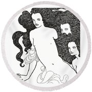 The Comedy Of The Rhinegold Round Beach Towel by Aubrey Beardsley