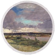 The Coming Storm Round Beach Towel by Charles Francois Daubigny