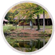 The Commissioners Cabin In Autumn Round Beach Towel