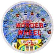 The Coney Island Wonder Wheel Round Beach Towel