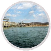 The Conowingo Dam Round Beach Towel