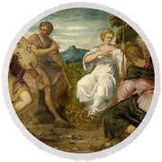 The Contest Between Apollo And Marsyas Round Beach Towel