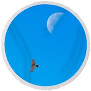 The Cooper's Hawk And The Moon Round Beach Towel