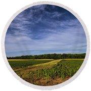 The Corn Fields Of Alabama Round Beach Towel