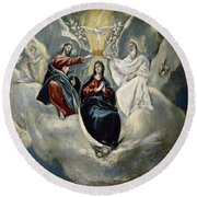 The Coronation Of The Virgin Round Beach Towel