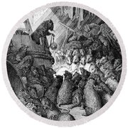 The Council Held By The Rats Round Beach Towel by Gustave Dore