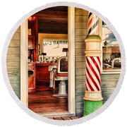 The Country Barber Round Beach Towel