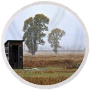 The Country Outhouse Round Beach Towel