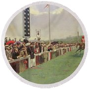 The Course At Longchamps Round Beach Towel by Jean Beraud