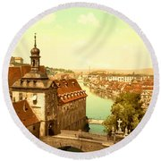 The Court House-bamberg-bavaria-germany - Between 1890 And 1900 Round Beach Towel