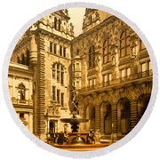 The Court House-hamburg-germany - Between 1890 And 1900 Round Beach Towel