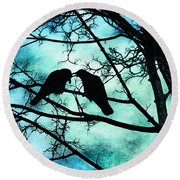 The Courtship Of Crows Round Beach Towel