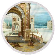 The Courtyard Of A Renaissance Palace Round Beach Towel