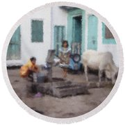 The Cow In The Yard Round Beach Towel