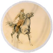 The Cowboy Round Beach Towel