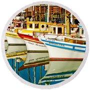 The Crab Fleet Round Beach Towel by Bill Gallagher