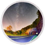 The Craggy Pinnacle Tunnel On The Blue Ridge Parkway  Round Beach Towel