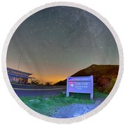 The Craggy Pinnacle Visitors Center At Night Round Beach Towel