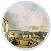 The Crescent, From Bath Illustrated Round Beach Towel by John Claude Nattes