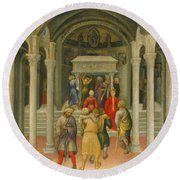 The Crippled And Sick Cured At The Tomb Of Saint Nicholas Round Beach Towel by Gentile da Fabriano