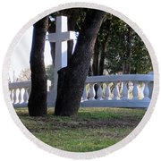 The Cross Through The Trees Round Beach Towel