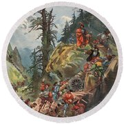 The Crossing Of The Alps, Illustration Round Beach Towel