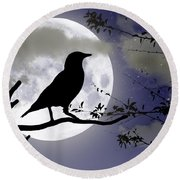The Crow And Moon Round Beach Towel
