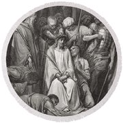 The Crown Of Thorns Round Beach Towel by Gustave Dore