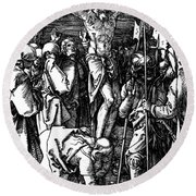 The Crucifixion Round Beach Towel by Albrecht Durer