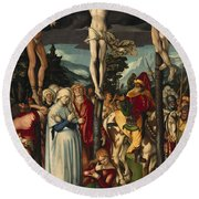 The Crucifixion Of Christ Round Beach Towel
